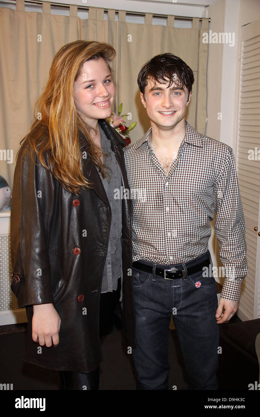 Amelia Ross and Daniel Radcliffe   Backstage at the Broadway musical production of 'How To Succeed In Business - Stock Image