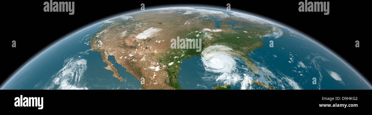 Panoramic view of planet Earth and the United States as seen from space. - Stock Image