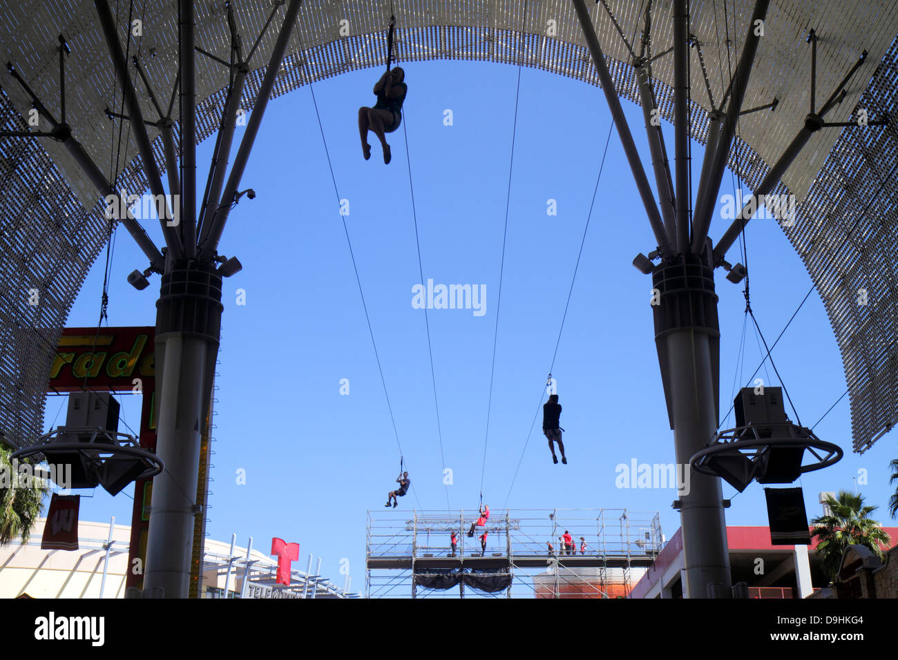 Nevada Las Vegas Downtown Fremont Street Experience FlightLinez zip line ride thrill - Stock Image