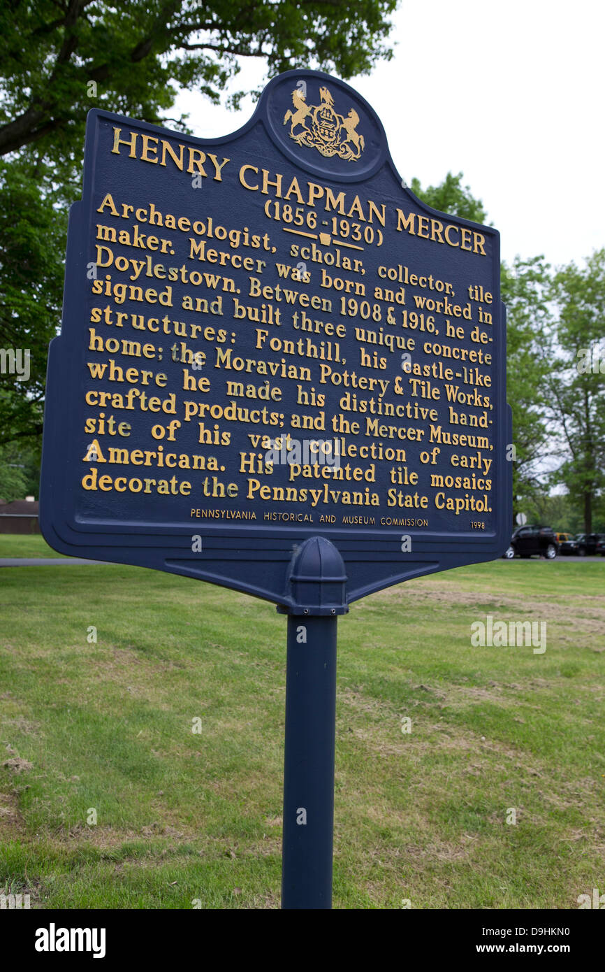 HENRY CHAPMAN MERCER (1856-1930) Archaeologist, scholar, collector, tile maker. Mercer was born and worked in Doylestown. - Stock Image