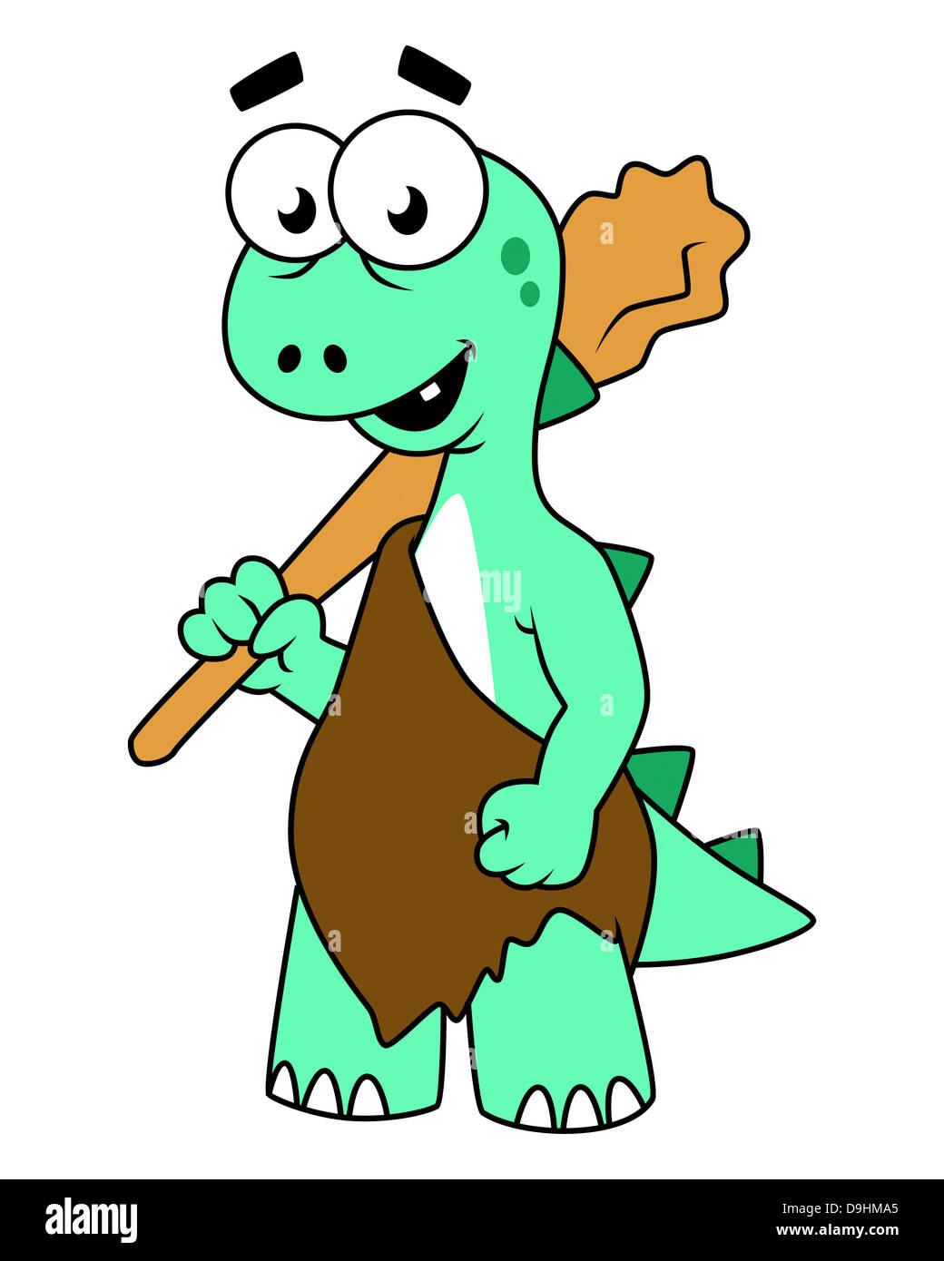 Cartoon illustration of a Tyrannosaurus Rex caveman. - Stock Image
