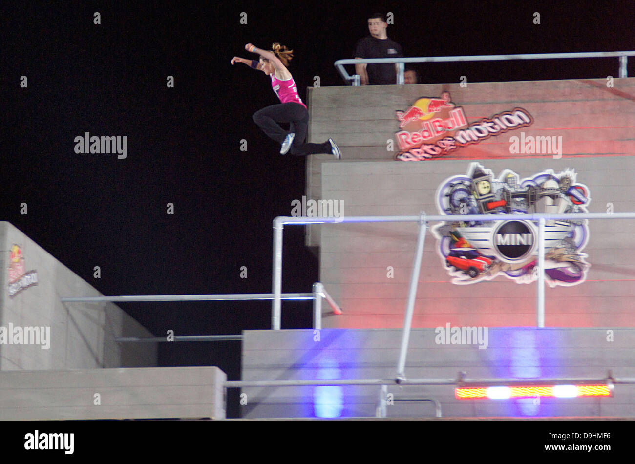 Luci Romberg ,  Free running at the UK Red Bull Art of Motion Champion 2011 at the National Theatre London, England Stock Photo