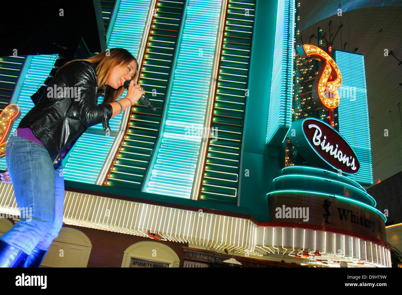 Neon Woman Sign Fremont Street Stock Photos & Neon Woman Sign ...