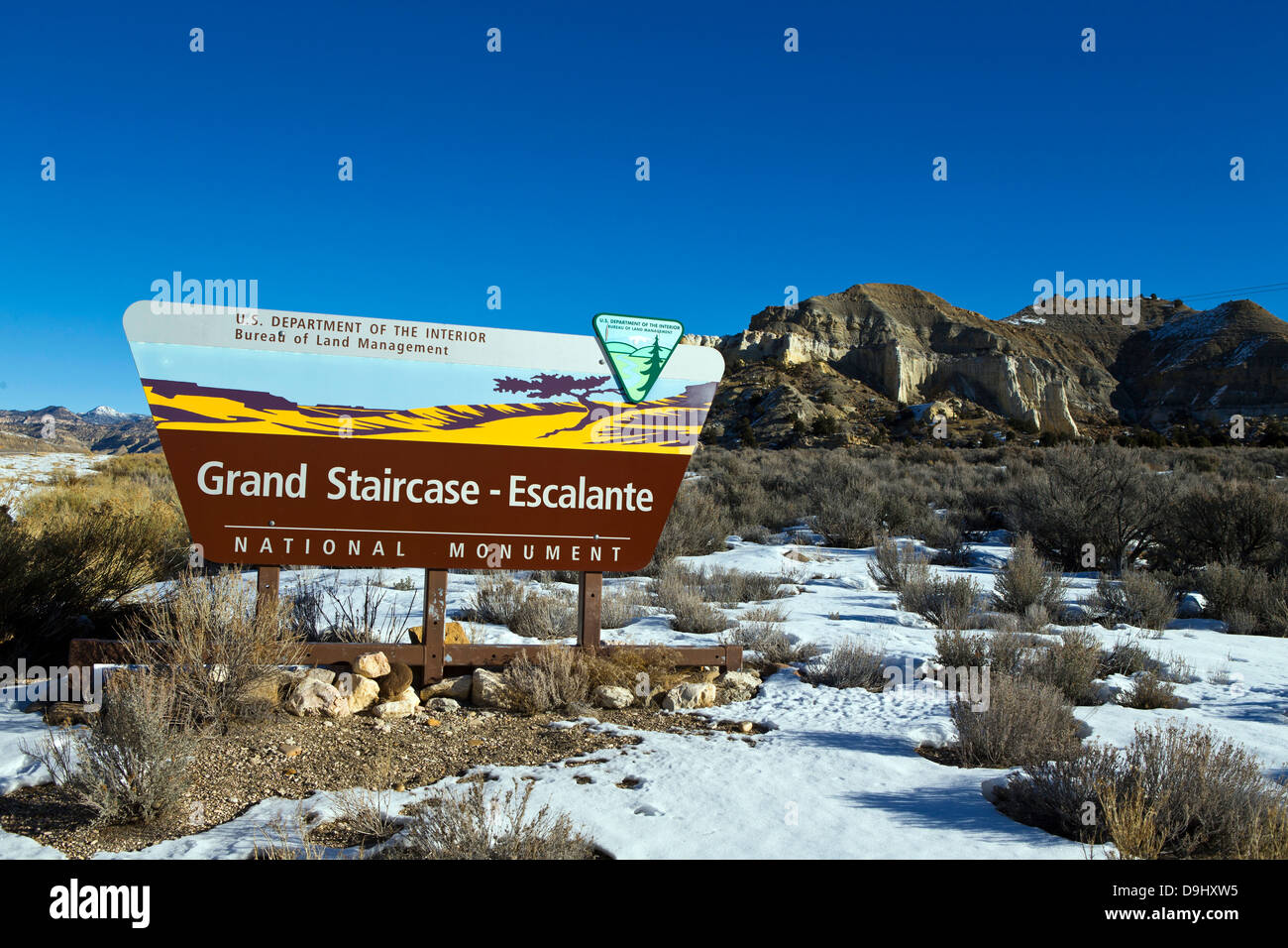 Grand Staircase-Escalante National Monument, Bureau of Land Management sign, Utah, United States of America - Stock Image