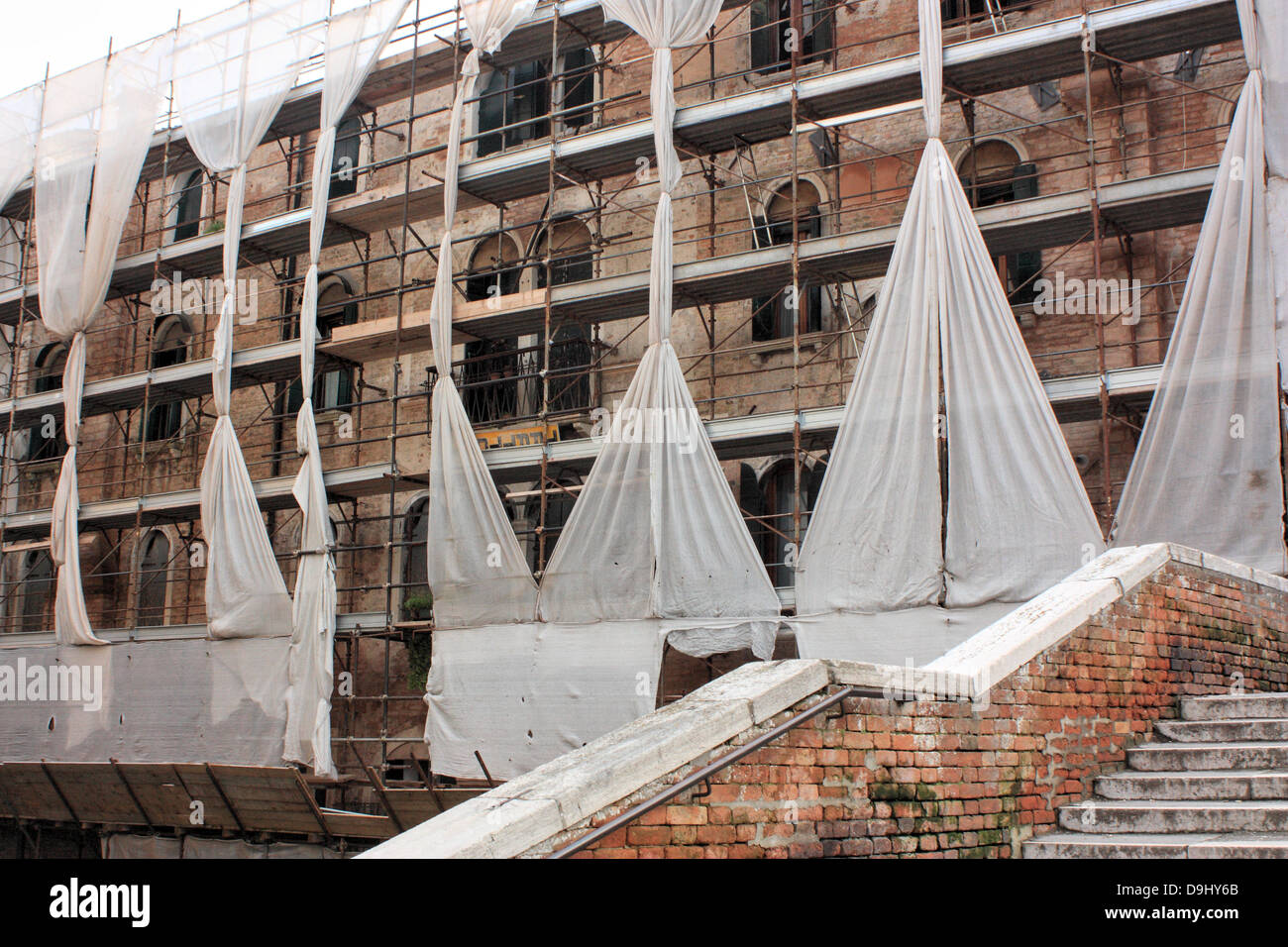 Reconstruction of a Venetian buildings (historically owned by the Scuola della Carità) - Stock Image