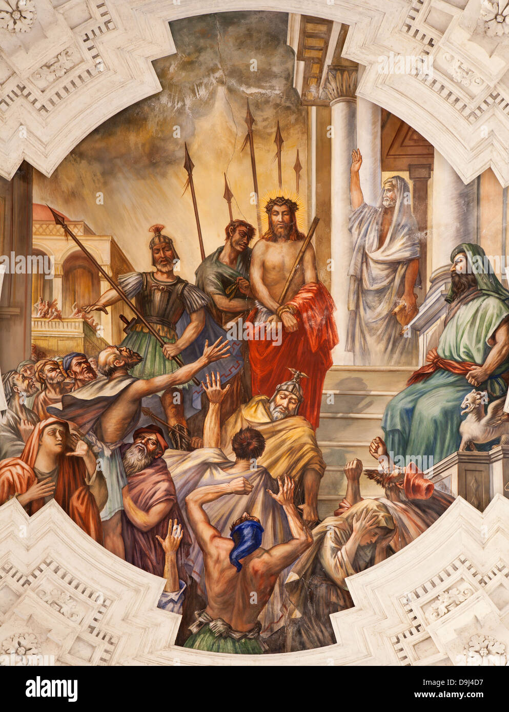 PALERMO - APRIL 8: Fresco of Jesus for Pilatus scene on ceiling of side nave in church La chiesa del Gesu - Stock Image