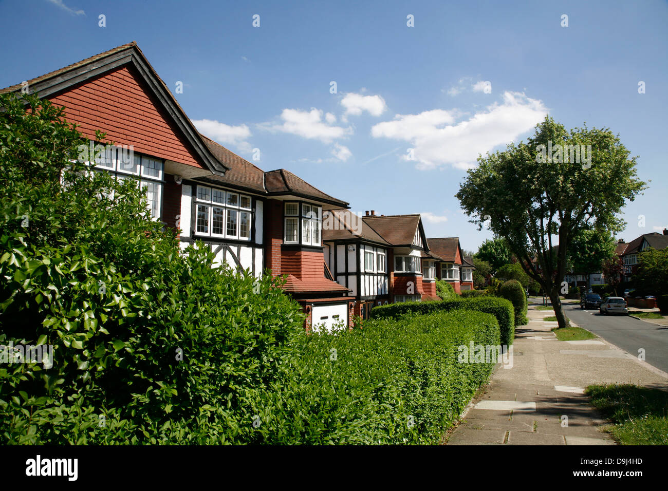 Suburban housing on Barn Hill, Wembley Park, London, UK - Stock Image