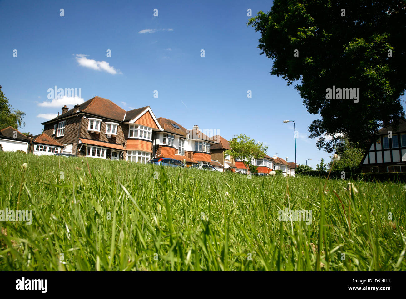 Suburban housing on Midholm in the Barn Hill area of Wembley Park, London, UK - Stock Image
