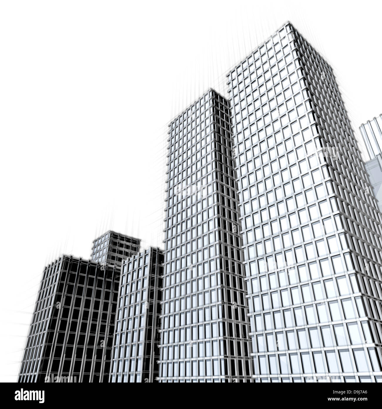 Architecture Drawing Of Large Skyscrapers Downtown