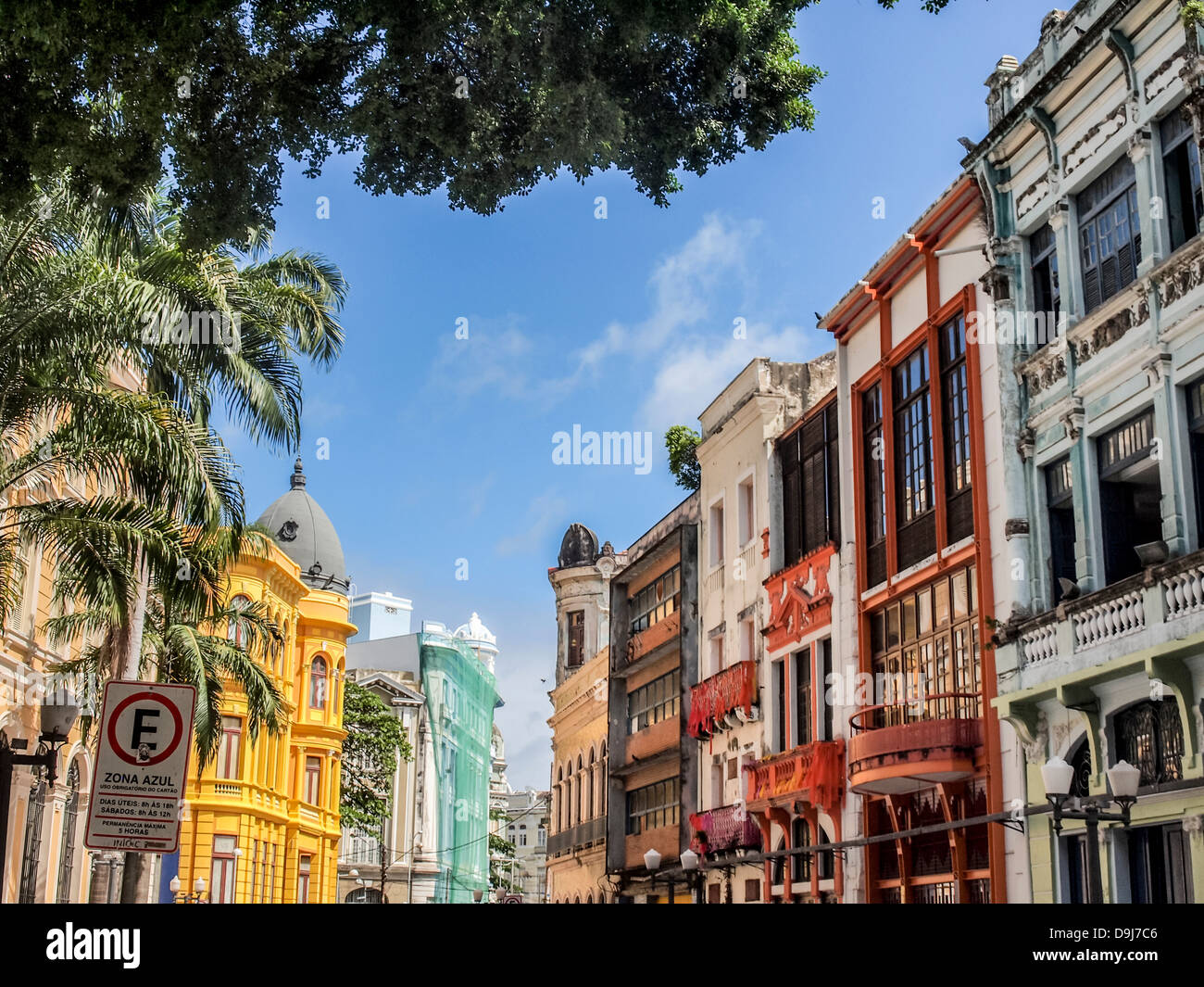The colonial architecture on Bom Jesus Street in the historical old town of Recife, the capital of Pernambuco region - Stock Image