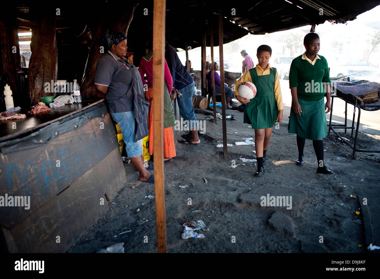 Grassroot Soccer uses power soccer to educate inspire mobilize communities to stop spread HIV Likhona Phakama walk - Stock Image