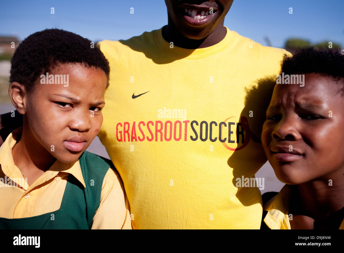 Grassroot Soccer uses power soccer to educate inspire mobilize communities to stop spread HIV Portrait Likhona Andile - Stock Image