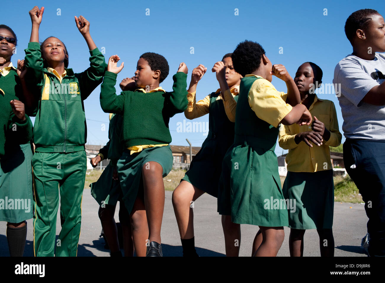 Grassroot Soccer uses power soccer to educate inspire mobilize communities to stop spread HIV girls play game in - Stock Image