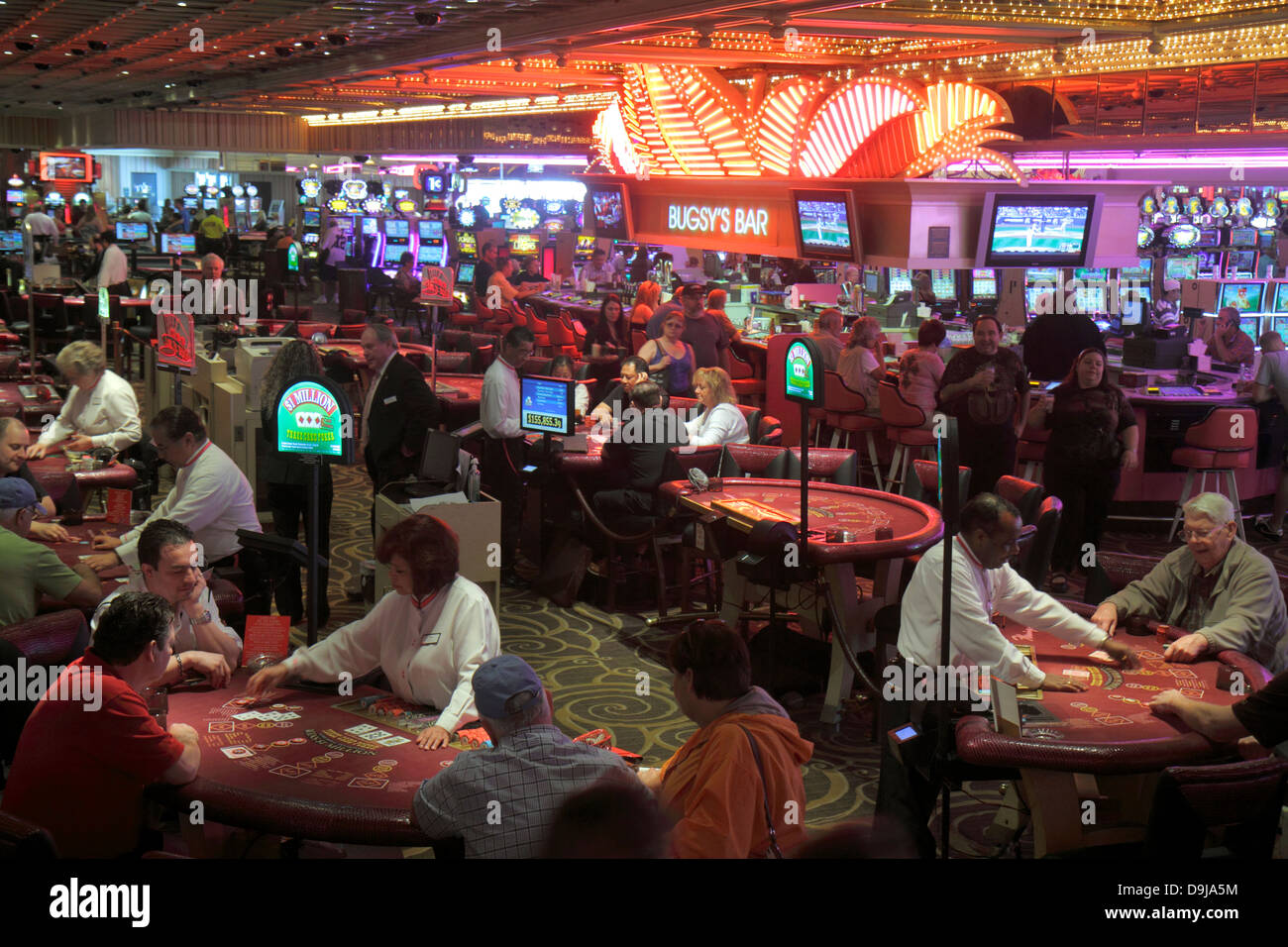 Nevada Las Vegas The Strip South Las Vegas Boulevard Flamingo Las Vegas Hotel and Casino gamblers gambling players - Stock Image