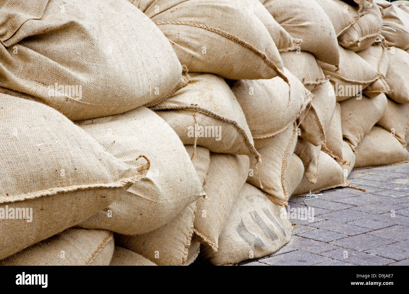 sand sack as barrier for high flood in Bratislava - Stock Image
