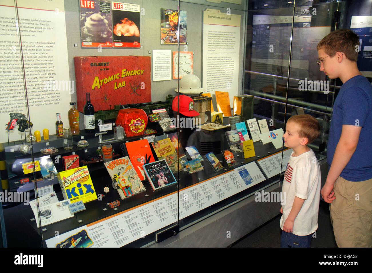 Nevada Las Vegas Flamingo Road National Atomic Testing Museum nuclear weapons development Area 51 relics boy teen Stock Photo