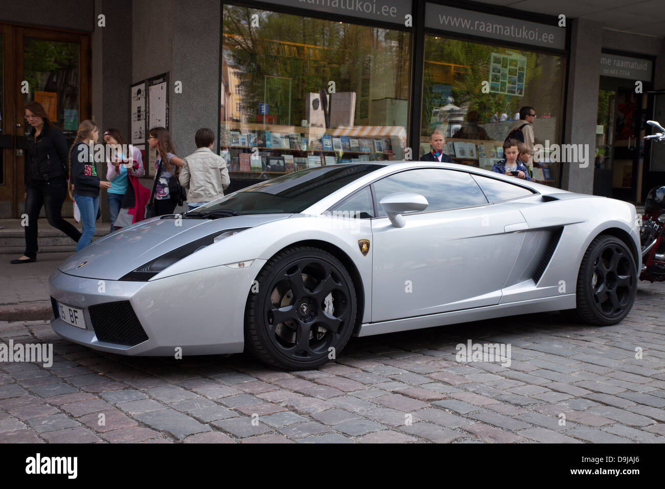 Lamborghini Gallardo Sports Car Silver Colour Side View Stock