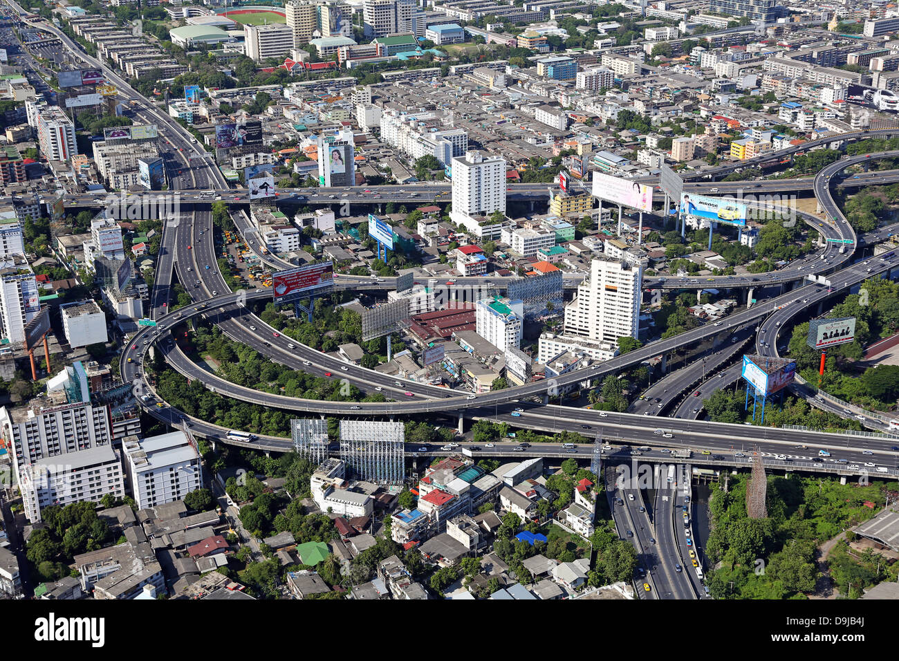 Aerial general view of buildings on the skyline in Bangkok, Thailand - Stock Image