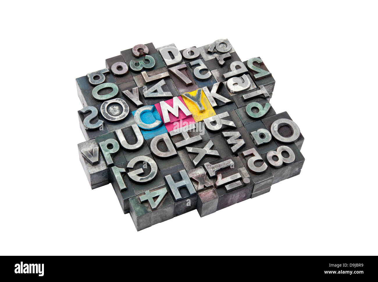 Cmyk made from metal letters - Stock Image