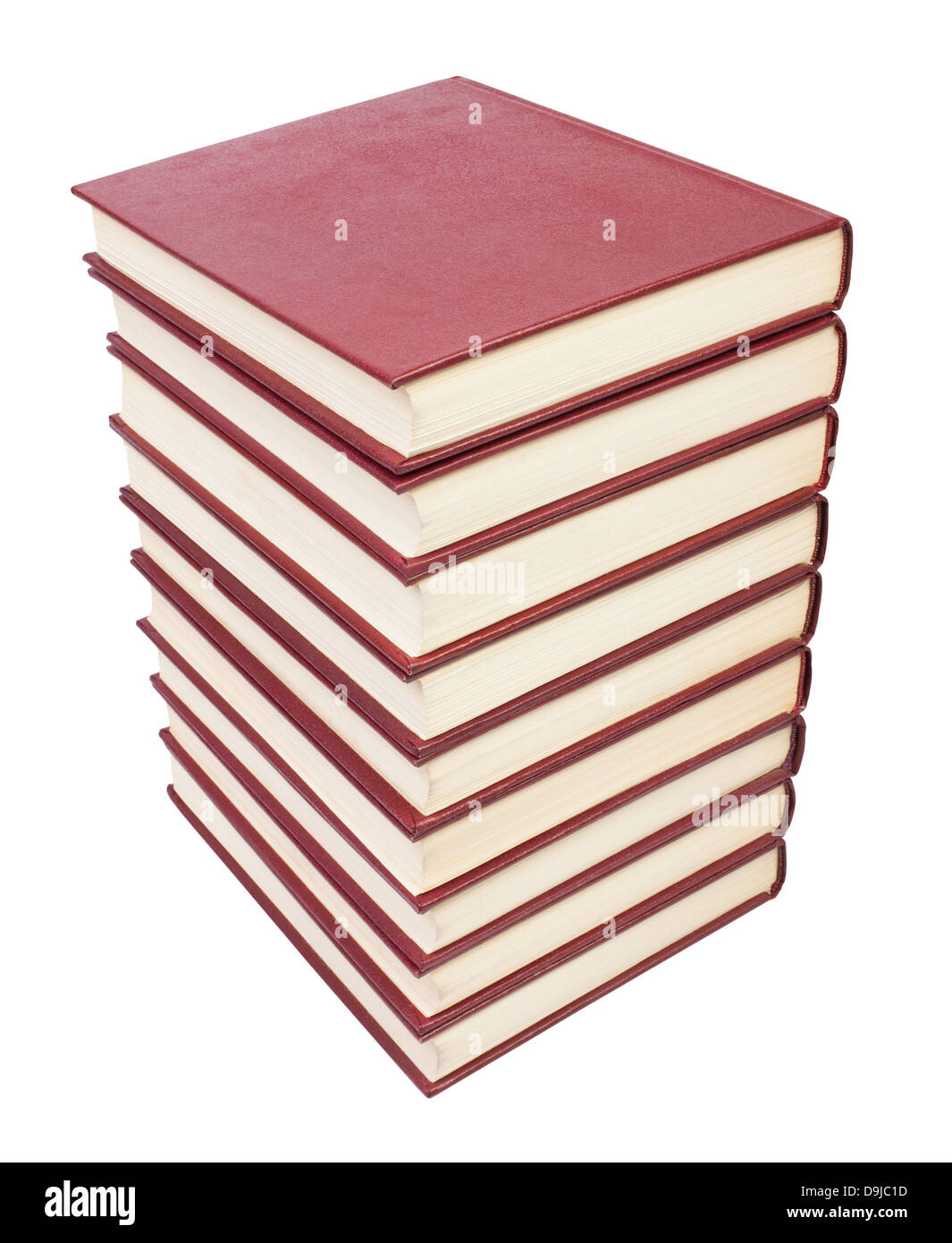 books pile on white background red - Stock Image