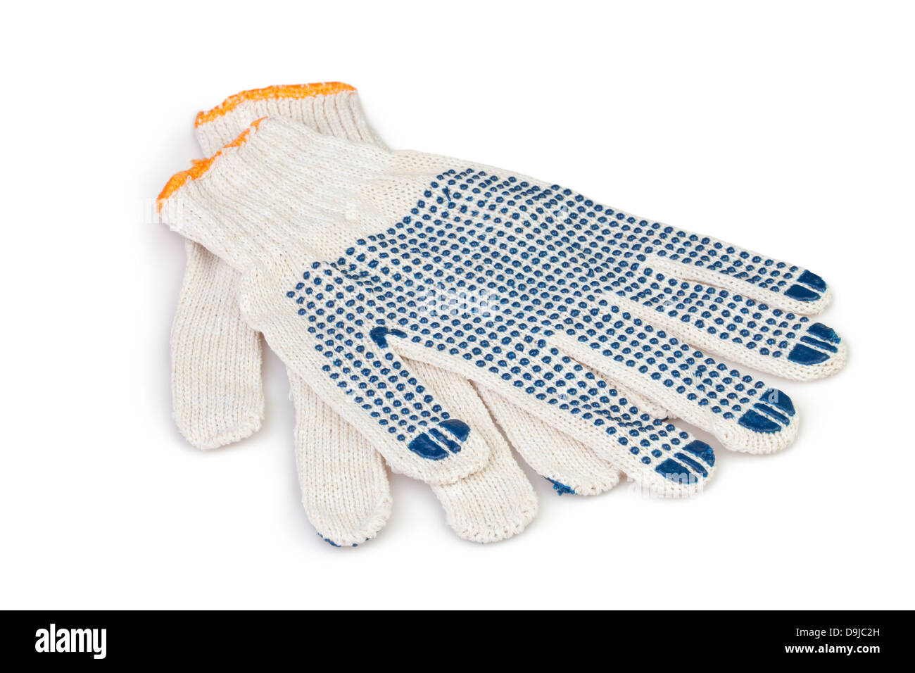 protective gloves working on white background - Stock Image
