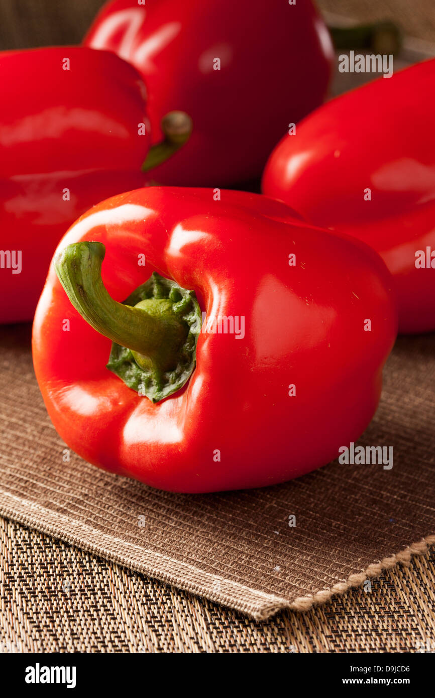 Fresh Organic Red Bell Pepper against a background Stock Photo