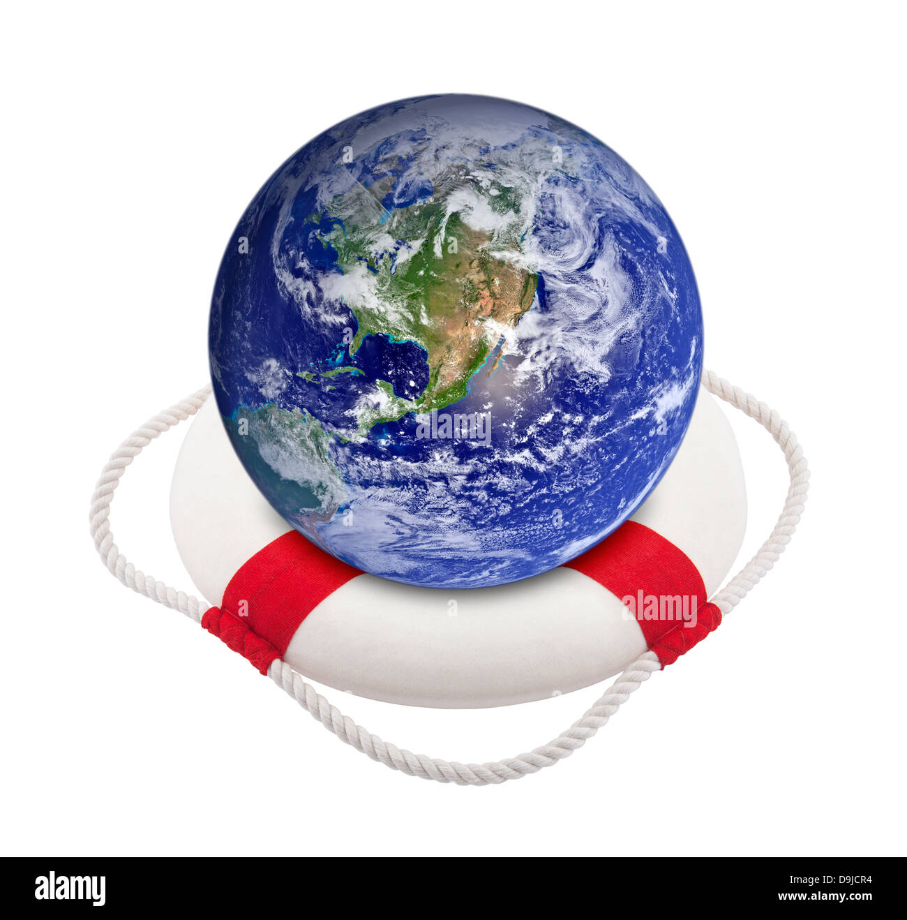 Earth globe in lifebuoy over white - Stock Image
