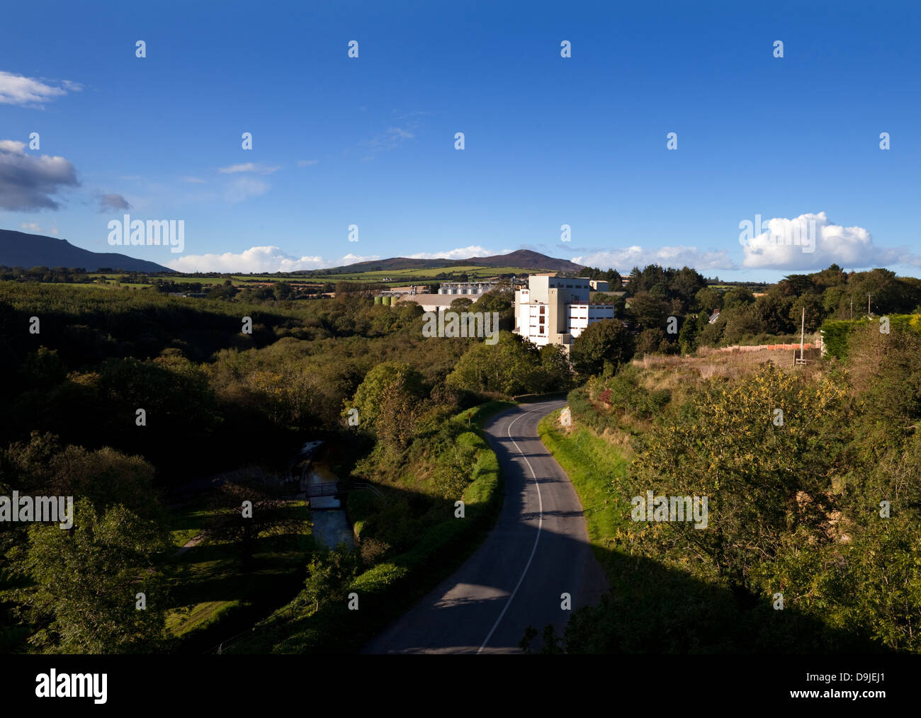 The River Mahon and Flahavan's Mills (porridge makers), From the Old Railway Viaduct on the Waterford Greenway - Stock Image