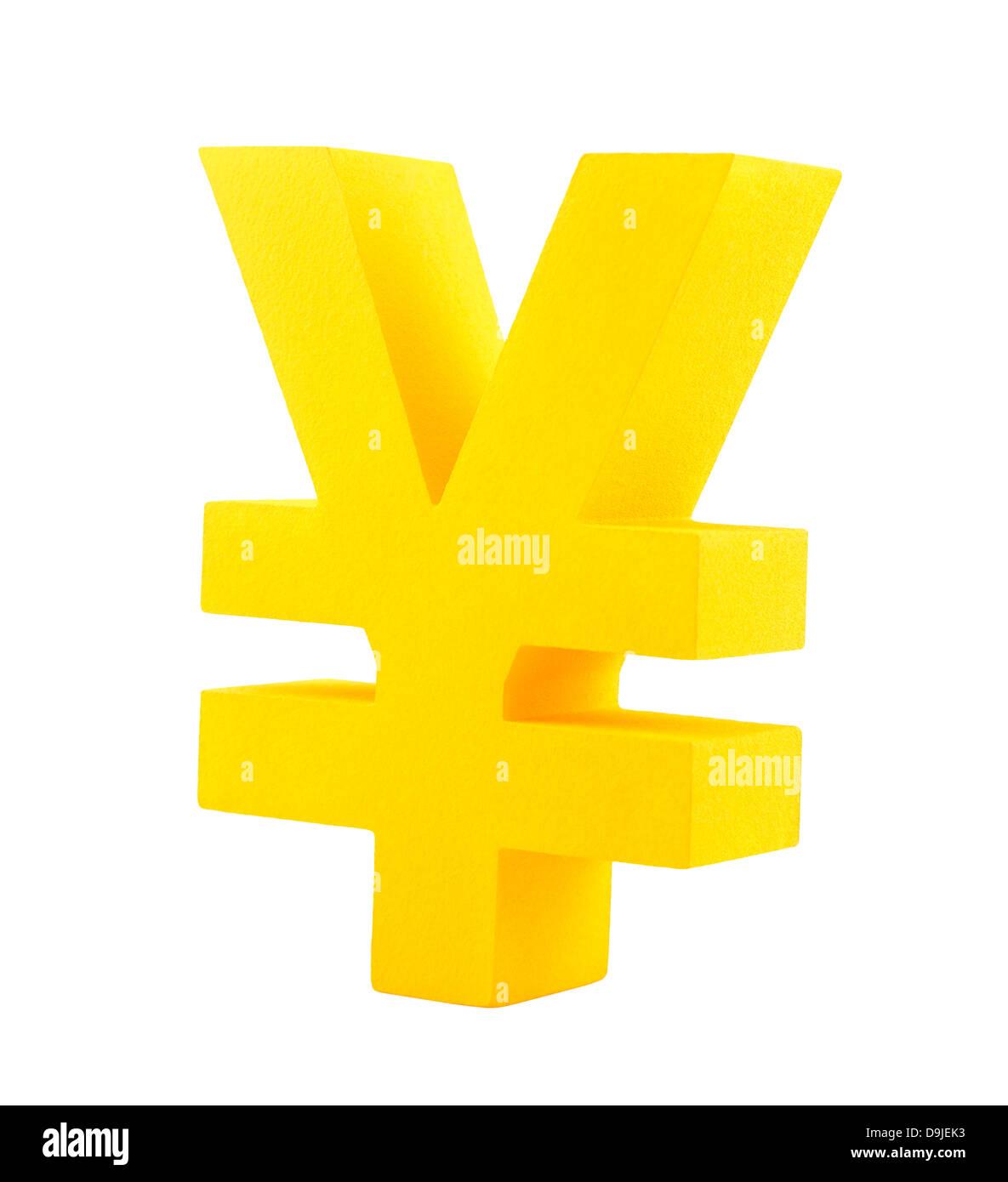 Golden yen symbol isolated on white - Stock Image