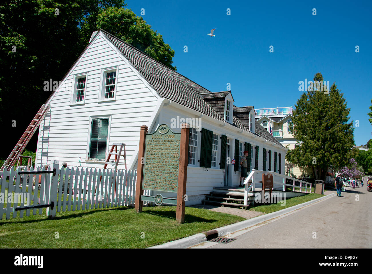 Michigan, Market Street, Mackinac Island. Historic Biddle House, the oldest house on the island dating back to the Stock Photo