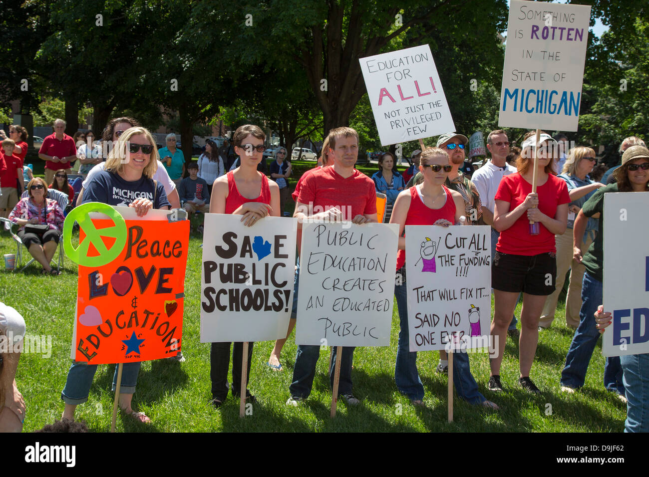 Rally to Save Public Schools - Stock Image