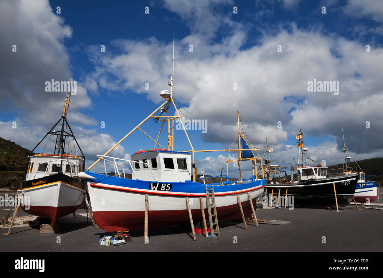The Harbour and Fishing Boats, Passage East, County Waterford, Ireland - Stock Image