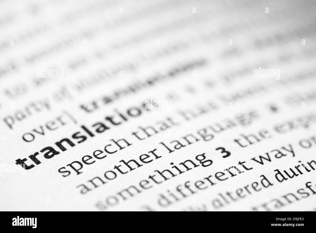 Translation definition in a dictionary - Stock Image