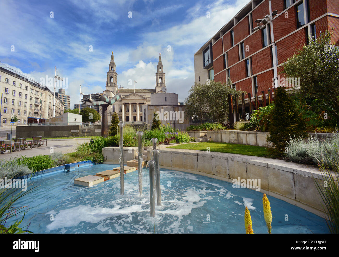 fountain in front of the nelson mandela gardens by the civic hall in the city of leeds yorkshire uk - Stock Image