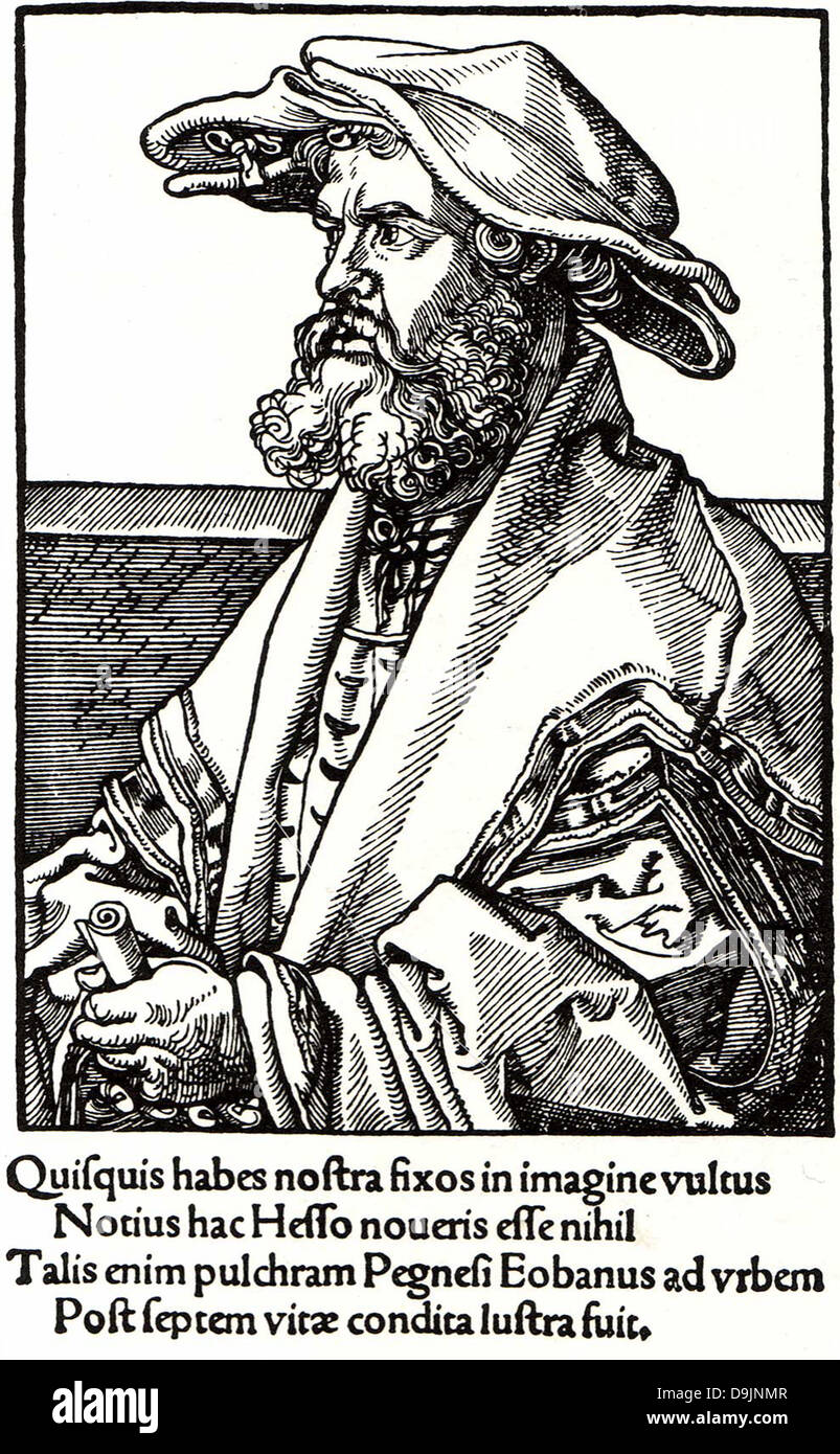 EOBANUS HESSUS (1488-1540) German poet who wrote in Latin - Stock Image