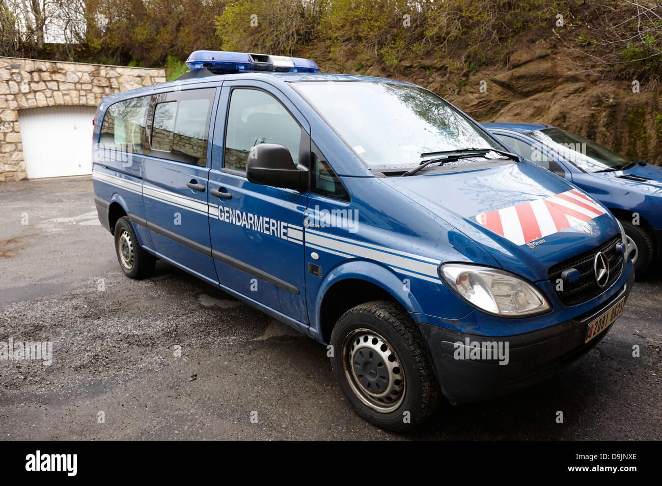 gendarmerie nationale police van vehicle mont-louis pyrenees-orientales france - Stock Image