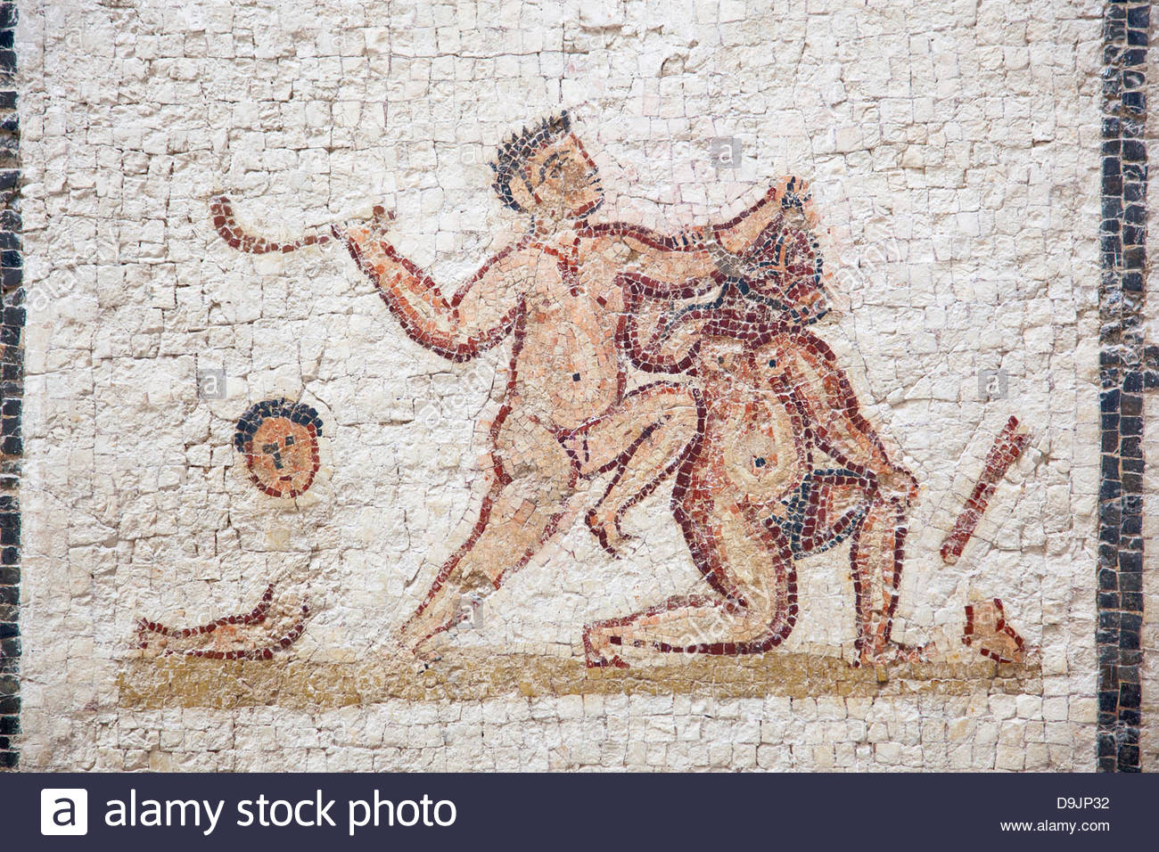Ancient mosaics in Musee National du Bardo in Tunis, Tunisia Stock Photo