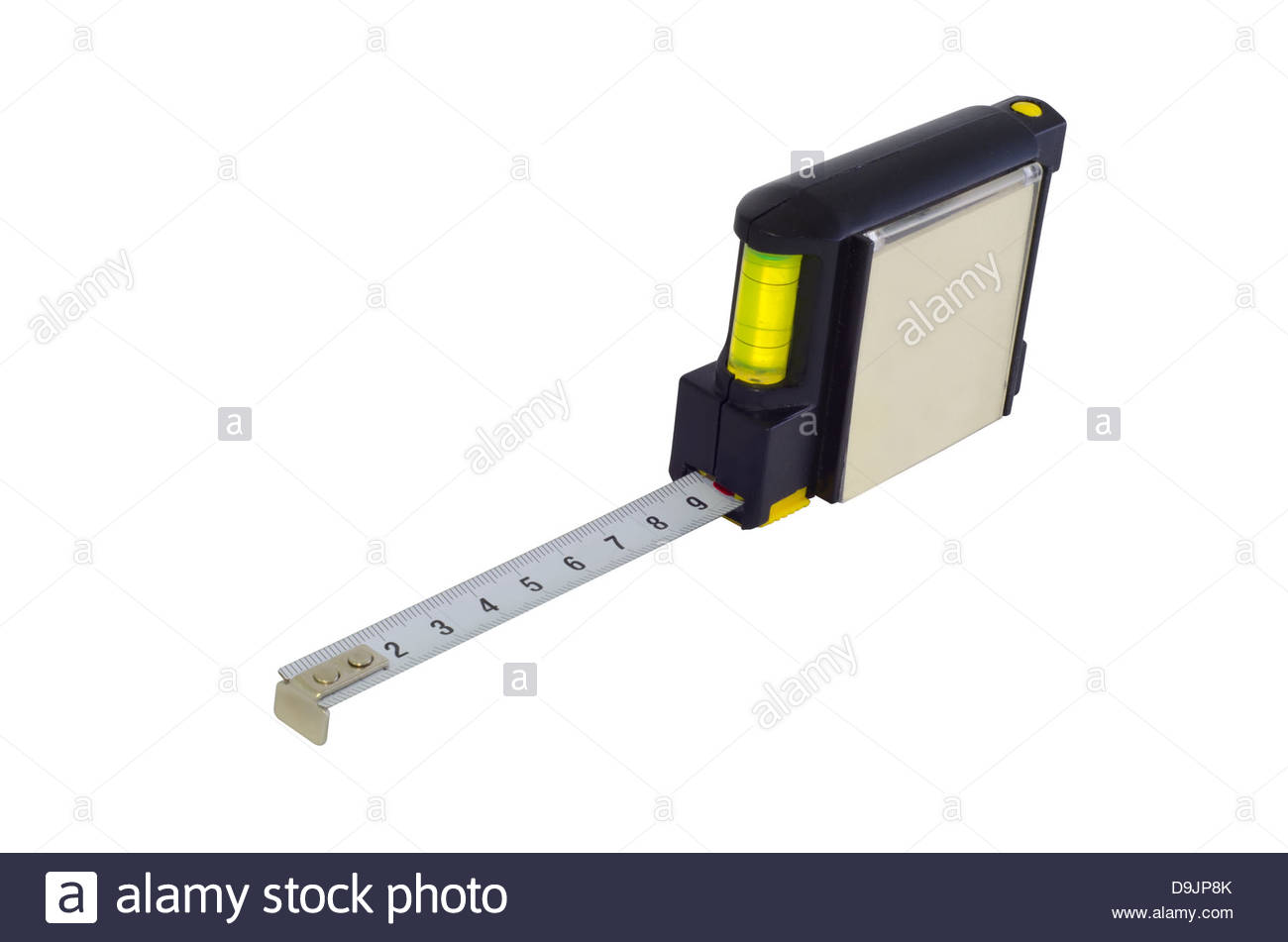 metallic tape measure with level for promotion and advertisement isolated over a white background - Stock Image