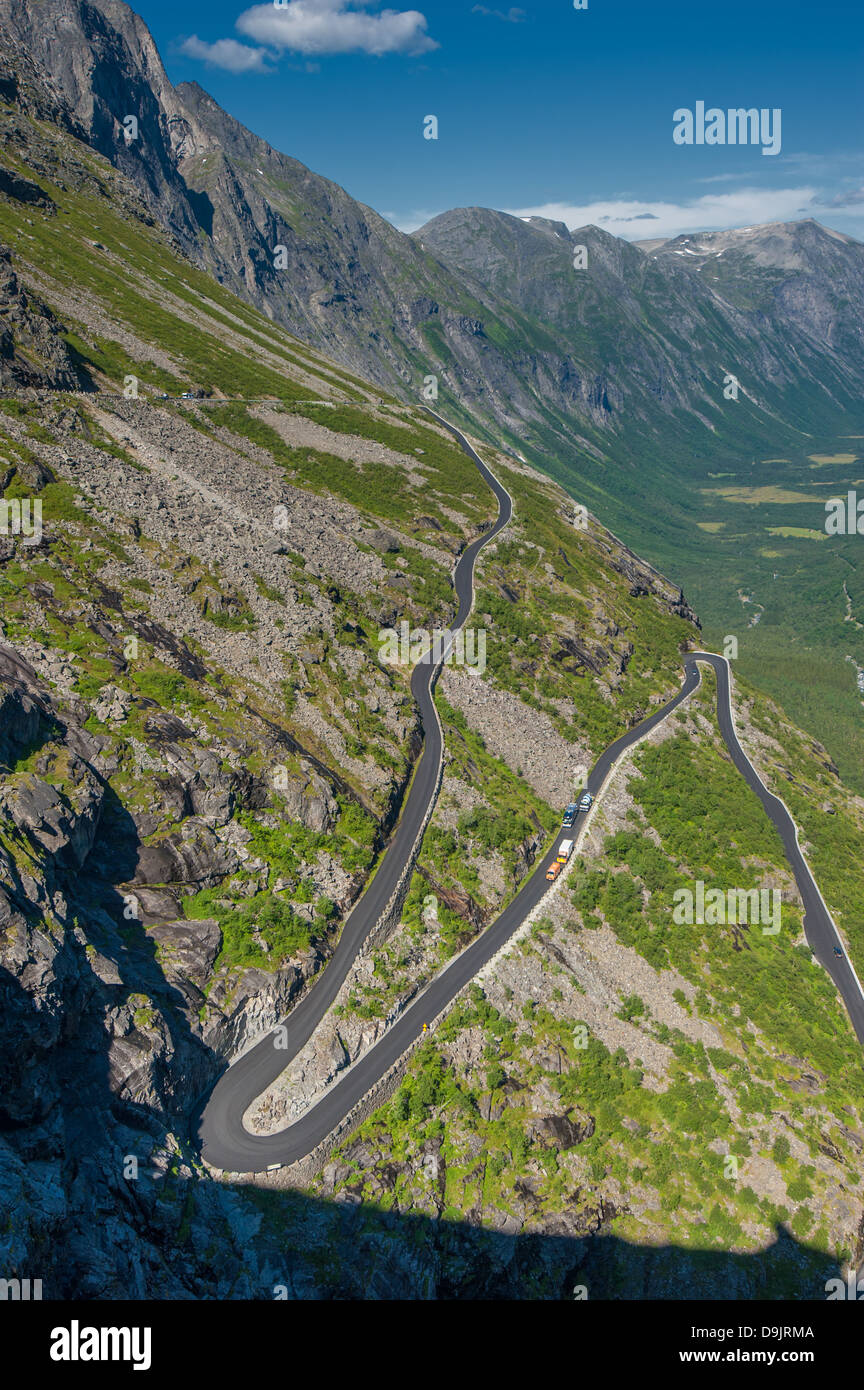 Trollstigen, Troll's Footpath, serpentine mountain road in Norway - Stock Image
