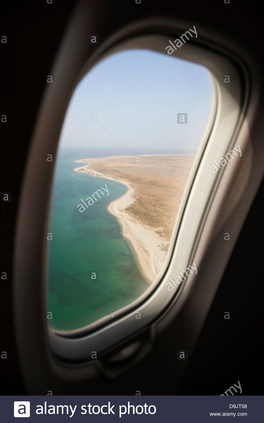 View from airliner on approach to land in Hadibu, Socotra, Yemen - Stock Image