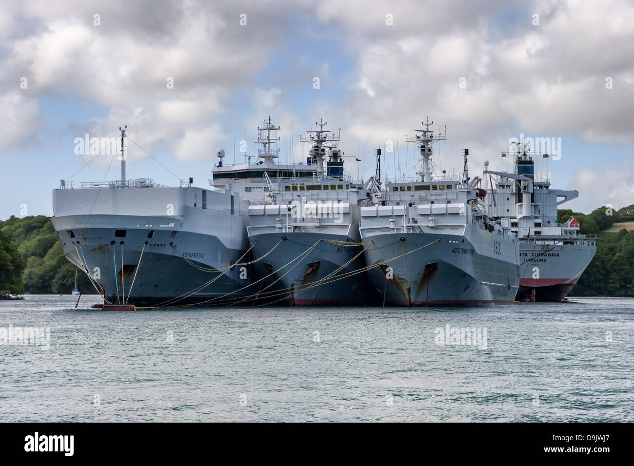 Laid up ships on the River Fal in Falmouth, Cornwall - Stock Image