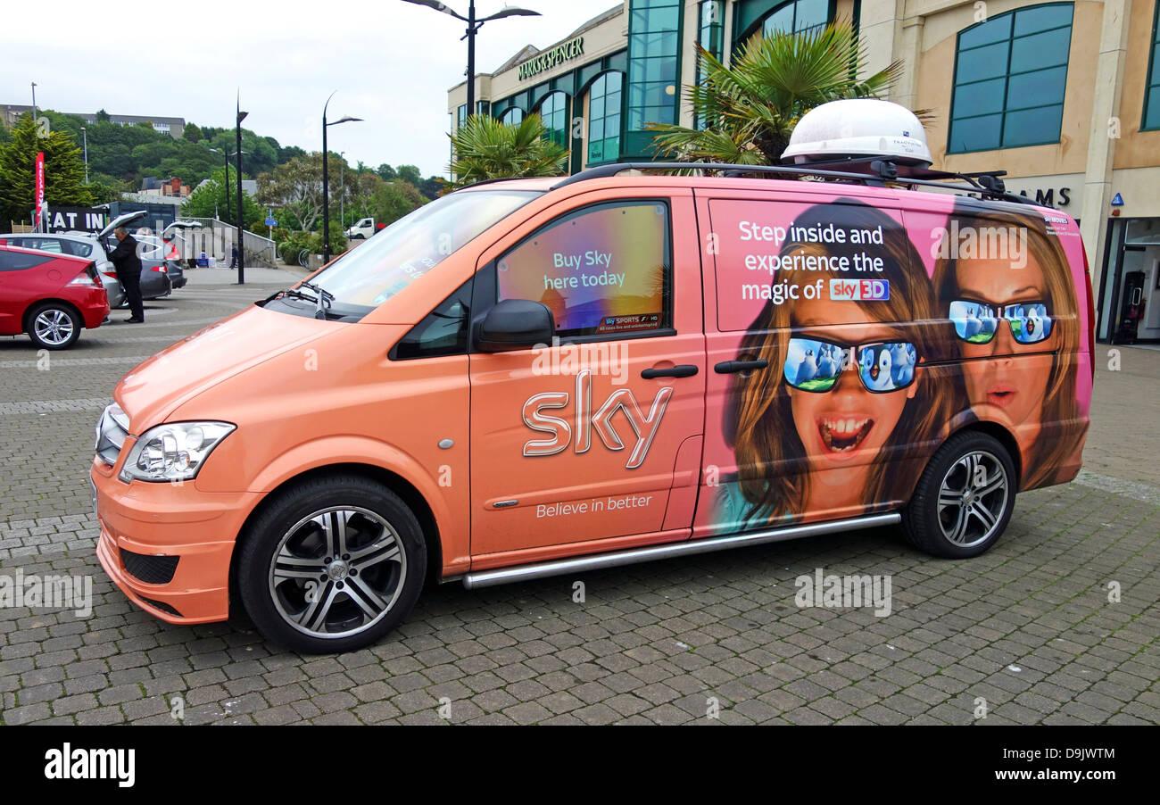 A Sky TV promotional van - Stock Image