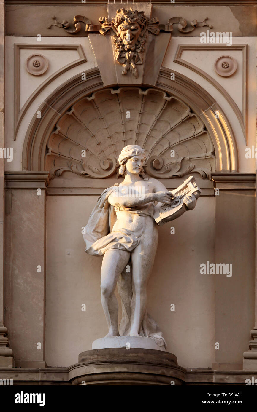 Musicians statue of Greek god Apollo at the State Theatre in Wiesbaden, Hesse, Germany - Stock Image