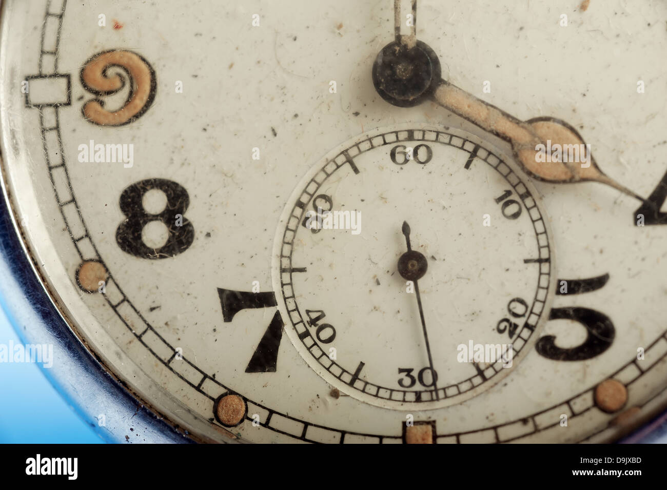 macro detail of shabby vintage pocket watch face - time concept - Stock Image