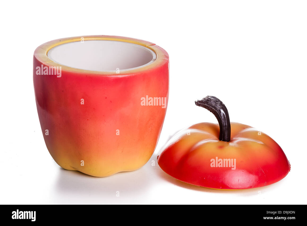 kitsch fifties vintage ice-bucket, shaped like an apple. - Stock Image