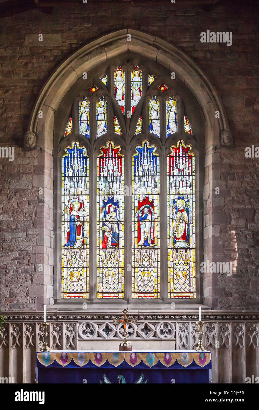 St Mary's Church, Ross-on-Wye, Herefordshire, England, stained glass window - Stock Image