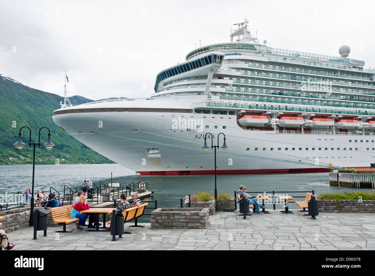 British cruise liner Azura visiting the town of Andalsnes, Norway - Stock Image
