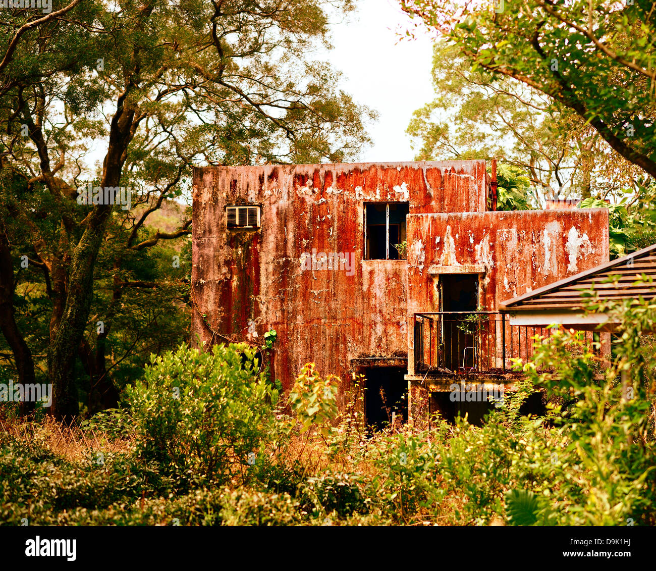 Old gritty abandoned home on Lantau Island in Hong Kong. Stock Photo