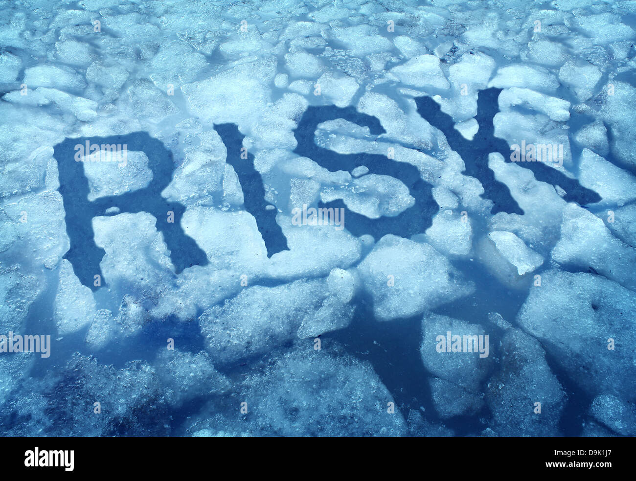 Risk and danger as a thin ice concept with the word imbedded in a cracked frozen lake warning any person to be very - Stock Image