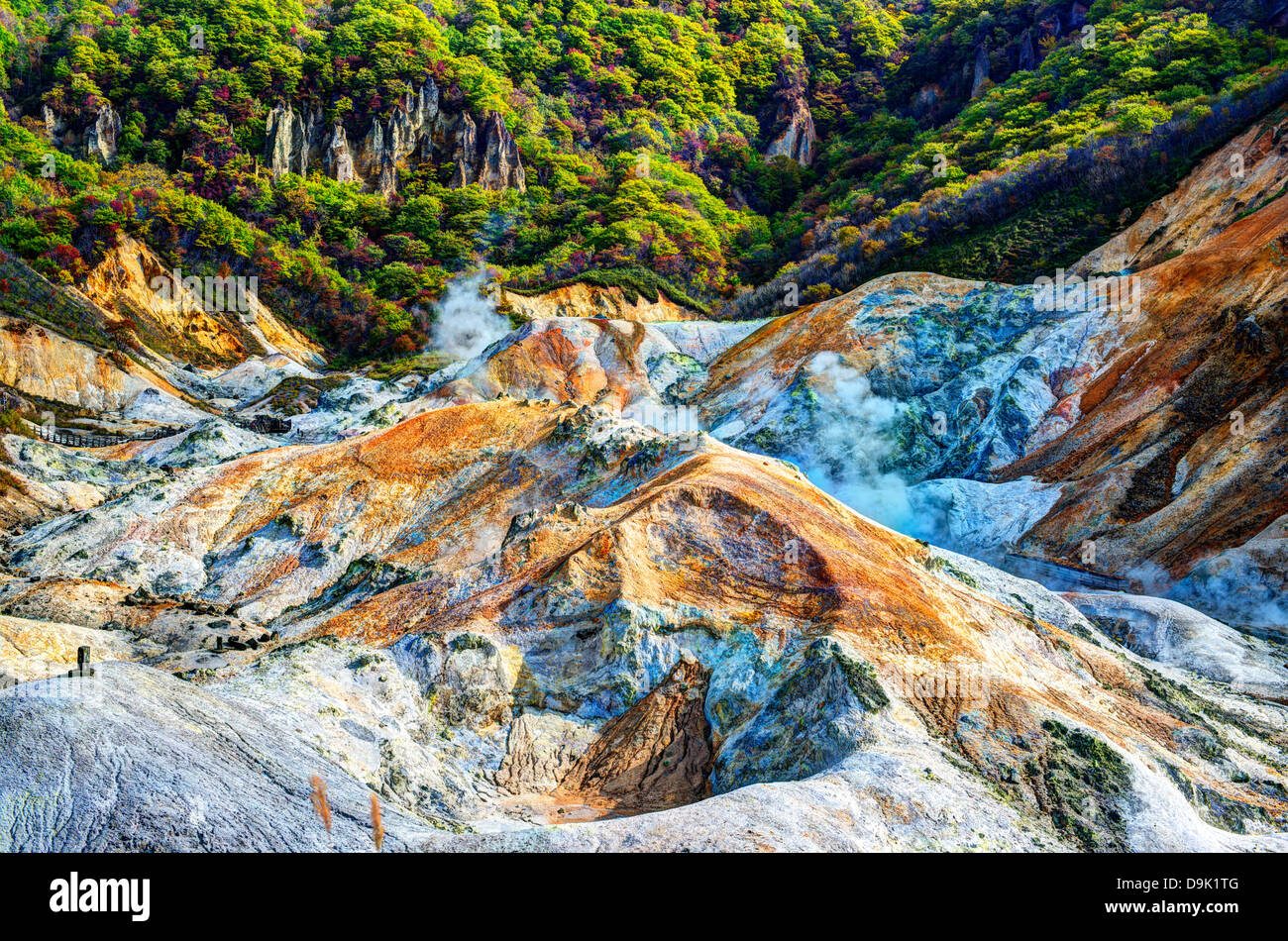 Hell Valley in Noboribetsu, Japan. - Stock Image